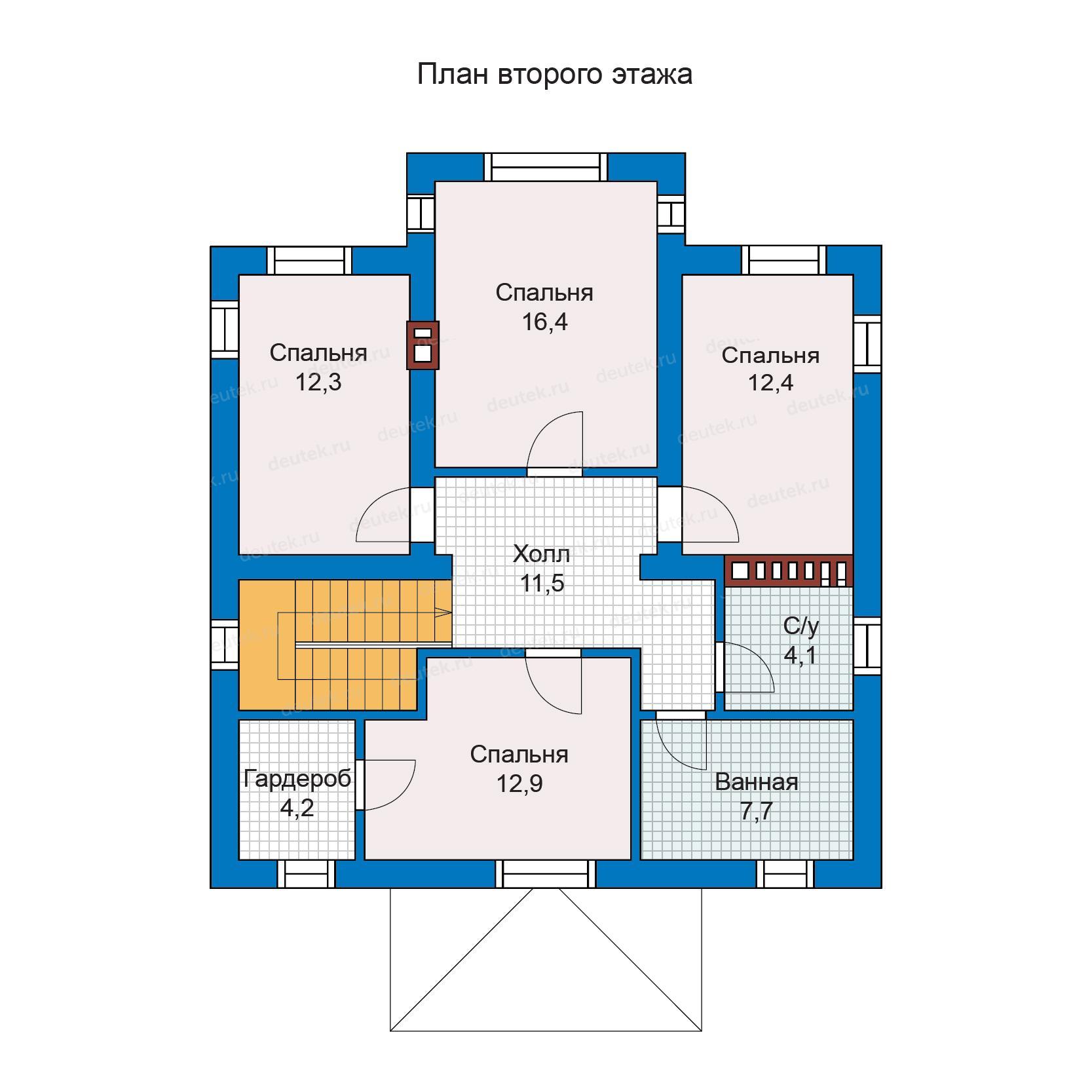 можно проект коттеджа с 4 спальнями на втором этаже самого